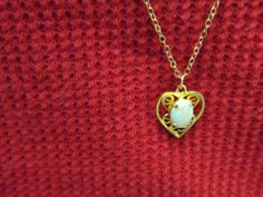 1/20 12 k Gold Filled Heart  Opal Necklace