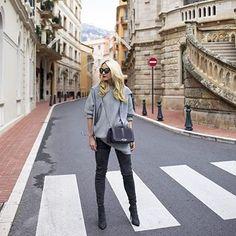 Weekend #SaksStyle: @blaireadiebee owning the streets of Monte-Carlo w/ her #SaksExclusive @rebeccaminkoff #handbag. Shop link in bio.