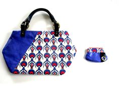 Handbag  Coin Purse Electric Blue Leather Turkish by iremabags Bag: 19 x 11 inches aprox Coin purse: 51/2 x 4 1/2 aprox