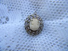 Vintage Petite Shell Cameo Pendant Woman Left Facing    RosesHeirlooms - Jewelry on ArtFire