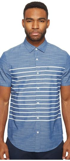 Original Penguin Short Sleeve Printed End on End Woven Shirt (Bering Sea) Men's Short Sleeve Button Up - Original Penguin, Short Sleeve Printed End on End Woven Shirt, OPWS7000OP-423, Apparel Top Short Sleeve Button Up, Short Sleeve Button Up, Top, Apparel, Clothes Clothing, Gift, - Fashion Ideas To Inspire