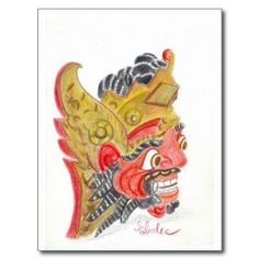 Bali mask postcard