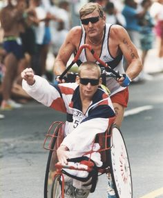 Rick and Dick Hoyt, father and son team. Finished 1,069 races together, it can't get any more inspirational than that! I love these guys!