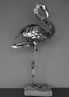 This art sculpture was made using recycled scrap metal and cutlery. Welding Art Projects, Metal Art Projects, Metal Crafts, Metal Sculpture Artists, Steel Sculpture, Art Sculptures, Sculpture Ideas, Abstract Sculpture, Bronze Sculpture