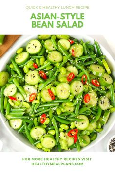 This flavourful bean salad starts with green beans, mini cucumbers, and edamame! It is topped with a flavourful dressing and is ready in just 10 minutes! Bean Salad Recipes, Cucumber Recipes, Green Bean Recipes, Kid Recipes, Healthy Recipes, Lunch Recipes, Healthy Meals, Asian Recipes, Quick Healthy Lunch