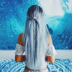 light blue on darker blue hair balayage