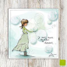 Je vous envoie des bulles de douceur ... - Carte de voeux illustrée par Myra Vienne - www.editionsdecortil.com Illustrations, Illustration Art, Beautiful Paintings, Caricature, How To Draw Hands, Doodles, Positivity, Messages, Lettering