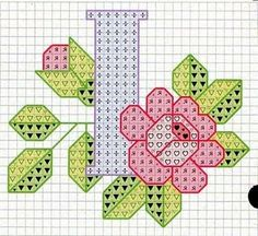Rose alphabet Y Cross Stitch Letters, Cross Stitch Charts, Cross Stitch Designs, Embroidery Alphabet, Embroidery Patterns, Stitch Patterns, Cross Stitching, Cross Stitch Embroidery, Plastic Canvas Letters