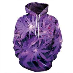 3D Purple Weed Leaf Print Sweatshirt New Harajuku 3D Hoodie Fashion Hooded Sweatsuits Tops Casual Pullovers For Men Women
