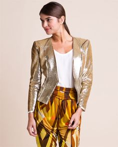 Gold Silk Sequin Jacket | #TreatYoSelf | #ParksandRec