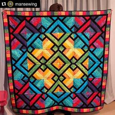 quiltsofinstagram: I love these bright, vibrant colors! Reminds me of a warm, tropical island. So fun! #quiltsofinstagram #Repost @mansewing ・・・ Jenni Le Huquet created this masterpiece and shared a pic with us! This reminds me of a bouquet of flowers, stained glass and a sunset over water. What does it remind you of?? #mansewing #quilts #quilt #showandtell #3dudesquilt