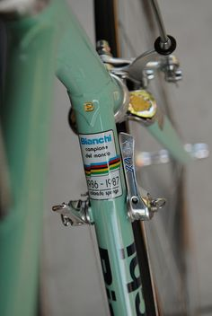 Bianchi X4 pantographed Campagnolo C Record shift lever. After Moreno Argentin won the world championship road race at Colorado Springs in 1986, Bianchi X4's were shipped with the 1986 - 1987 World Champion decal.