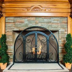 single panel ornate fireplace screen with doors black with regard to Fireplace screens with doors Classic Fireplace, Tv Over Fireplace, Paint Fireplace, Fireplace Shelves, Shiplap Fireplace, Rustic Fireplaces, Rock Fireplaces, Farmhouse Fireplace, Fireplace Hearth
