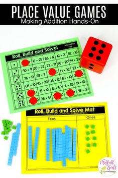 Roll, Build and Solve- Hands-on Place Value Game! Tons of fun math centers to teach place value in Second Grade!