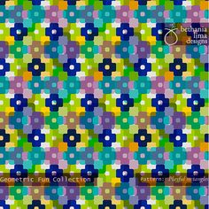 """Geometric Fun Collection, Pattern """"Playful rectangles"""", copyright Bethania Lima Designs, 2013."""