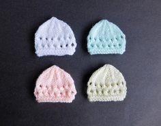 premie baby hats I decided to make micro-preemie sizes of a few of my little hats - perfect for very early premature babies or Angel babies born too soon. Baby Hat Knitting Patterns Free, Baby Hat Patterns, Baby Hats Knitting, Free Knitting, Crochet Patterns, Free Pattern, Knitting Stiches, Kids Patterns, Crochet Preemie Hats