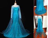 US Dresses + Wigs Elsa Princess Dress Costume Cosplay Frozen Snow Queen Elsa Blonde Braid Cosplay