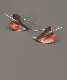 Earrings - Fold-formed Hearts; flame-colored copper on silver wires; fold-formed copper on silver earwires
