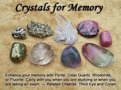 Crystals for Memory. I need these! 💕Follow us on Facebook @calmerspirit 💕