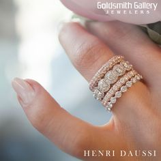 Stackable bands are the perfect gift to celebrate Mom this week... Add a band to represent each child, each anniversary, or each milestone... there are no rules when it comes to stacking! #stackablebands #henridaussi #diamonds #wedding #bands #mothersday