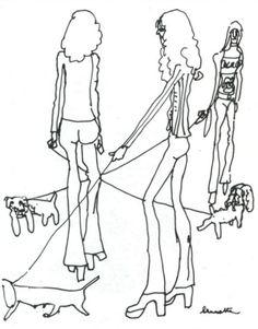 135 best 1970s fashion illustrations images fashion illustrations 50s White Shirt and Jeans brunetta a k a bruna moretti mateldi 1904 1988 1974 la moda dei jeans e dei cani fashion jeans and dogs crayon on paper 28 x 22 cm