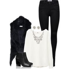 What I wore today Black Fur Vest, Forever New, Black Skinnies, What I Wore, Winter Fashion, Shoe Bag, Fall, How To Wear, Closet