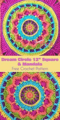 Dream Circle Square and Mandala [Free Crochet Pattern] Dream Circle Square and Mandala [Free Crochet Pattern] Crochet Pillow Patterns Free, Crochet Mandala Pattern, Crochet Circles, Granny Square Crochet Pattern, Crochet Round, Crochet Squares, Crochet Stitches, Granny Squares, Free Pattern