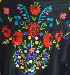 "Spanish flamenco black multicoloured embroidered shawl 60"" x 39"" $16"