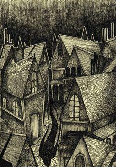 sigrid rødli Cover illustration for Gustav Meyrink's The Golem (1914).