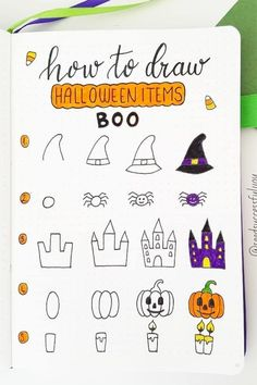 Best bullet journal doodles for fall & halloween Starting your fall theme and need some deocration ideas? Check out these Fall and Halloween step by step bullet journal doodle tutorials for inspiration! Bullet Journal Cover Page, Bullet Journal Writing, Bullet Journal Layout, Bullet Journal Ideas Pages, Bullet Journal Inspiration, Book Journal, Bullet Journals, Halloween Doodle, Halloween Drawings
