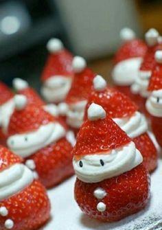 bastelideen zu weihnachten erdbeeren weihnachtsmann