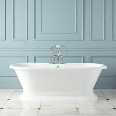 like the floor w/ color blue and also the trim work on walls Signature Hardware Langly Cast Iron Double Slipper Pedestal Tub White Tub Soaking Freestanding Pedestal Tub, Stand Alone Tub, Master Bath Remodel, Remodel Bathroom, Kitchen Remodel, Tub Faucet, Faucets, Traditional Bathroom, Home Interior