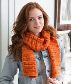 Beginner Garter Drop-Stitch Scarf Free Knitting Pattern from Red Heart Yarns