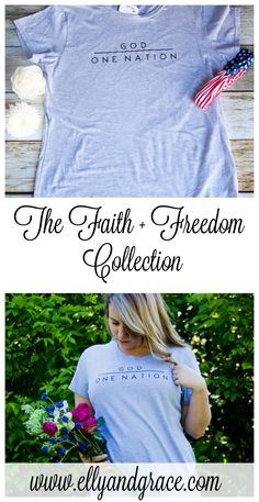 We are one nation under God - and this shirt is the perfect reminder of that. Shown in the heather grey with black font, model is wearing a large. To Shop the Rest of the Collection, Click Here. This