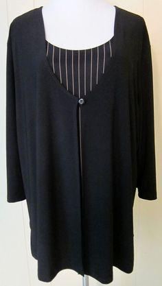 Studio 1940 Women Plus 3X Black Long Sleeve Layered Look Brown Stripe Tunic Top #Studio1940 #Tunic