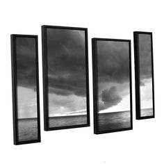 Lake Erie Storm by Dan Wilson 4 Piece Floater Framed Photographic Print on Canvas Set