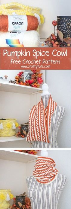 Pumpkin Spice A new yarn color, I must get! A perfect crochet project for fall and winter. Read on down to find the FREE crochet pattern. Knit Or Crochet, Crochet Scarves, Crochet Shawl, Crochet Clothes, Free Crochet, Crochet Winter, Crochet Blankets, Crochet Stitches, Loom Knitting