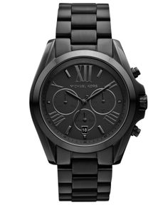 Michael Kors Watch, Women's Chronograph Bradshaw Black Ion Plated Stainless Steel Bracelet 43mm MK5550 - All Watches - Jewelry & Watches - Macy's