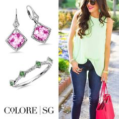 Sweet Spring style with green & pink. #OOTD #WomensStyle #Style #springfashion