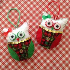 Buho adornos de navidad / ornamento de Navidad buho / set de 2, rojo y verde Navidad buho / ornamentos de la Navidad cuadros buho / decoración árbol de Navidad /Handmade