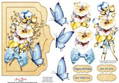 """Pansies Blue Butterfly on Craftsuprint designed by June Young - A shaped card front which will fit a 7"""" x 5"""" card. A spray of pansies, ribbon and gold foliage with a blue butterfly and toning silk bow, on an embossed background with two narrow raised frames. This design can be used for practically any occasion. There is decoupage for both the floral elements and the butterfly and there are four greetings plates, one is blank for your own lettering. - Now available for download!"""