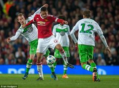Centre half Chris Smalling (second left) gave the Red Devils the lead in the 53rd minute at Old Trafford