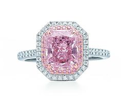 Tiffany Pink diamond ring with double halo of pink and white diamonds.