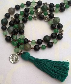 Happymala necklace black and green glass/stone beads by happymala Handmade Jewelry, Unique Jewelry, Handmade Gifts, Stone Beads, Tassel Necklace, Jewerly, Yoga, Trending Outfits, Glass