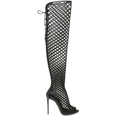 Le Silla Women 110mm Cage Leather Over The Knee Boots ($1,255) ❤ liked on Polyvore featuring shoes, boots, black, black leather over the knee boots, black thigh-high boots, black boots, black high heel boots and platform boots