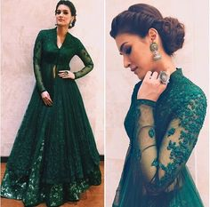 Hunter Green Beaded Two Pieces Formal Dresses Evening Wear With Long Sleeves Beaded Lace Evening Gowns Floor Length V Neck A-Line Prom Dress Indian Gowns Dresses, V Neck Prom Dresses, Pakistani Dresses, Evening Dresses, Indian Anarkali, Bride Dresses, Dress Prom, Dresses Uk, Indian Evening Gown