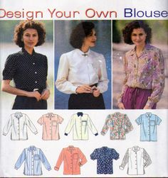 Simplicity 9210, Misses Size 14, 16 and 18, Blouses Patterns, Button Front Blouse with Cuff and Sleeve Variations, Side Slits, French Cuff by OnceUponAnHeirloom on Etsy