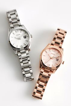 Ready for your wishlist: #Fossil Small Perfect Boyfriend watches in Silver and Rose Gold.