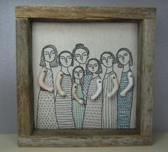 hand embroidery art mama and her girls by MarysGranddaughter, $325.00
