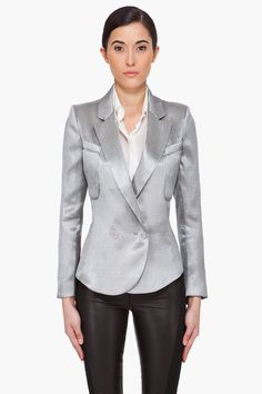 THEYSKENS' THEORY //  SILVER JUNKO FILVER BLAZER  21303F095002    Double breasted blazer in silver tone. Notched lapel collar. Padded shoulders. Faux patch pocket and genuine patch pocket at bust. Two button cuffs. Angled cutout detail at side seams. Lined. Tone on tone stitching. 63% acetate, 26% polyester, 11% silk. Dry clean. Made in United States.  $695.00 USD  $348.00 USD You Save 50%  This item is on final sale     SIZE GUIDE  ADD TO BAG